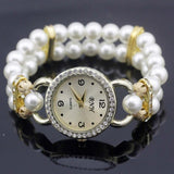 shsby New Women's Rhinestone Quartz Analog Bracelet Wrist Watch lady dress watches with Colorful pearls - White