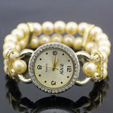 shsby New Women's Rhinestone Quartz Analog Bracelet Wrist Watch lady dress watches with Colorful pearls - light  yellow