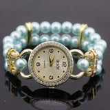 shsby New Women's Rhinestone Quartz Analog Bracelet Wrist Watch lady dress watches with Colorful pearls - sky  blue