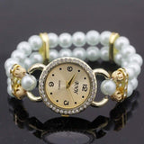 shsby New Women's Rhinestone Quartz Analog Bracelet Wrist Watch lady dress watches with Colorful pearls - light  blue