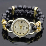 shsby New Women's Rhinestone Quartz Analog Bracelet Wrist Watch lady dress watches with Colorful pearls - Black