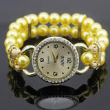 shsby New Women's Rhinestone Quartz Analog Bracelet Wrist Watch lady dress watches with Colorful pearls - Yellow