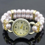 shsby New Women's Rhinestone Quartz Analog Bracelet Wrist Watch lady dress watches with Colorful pearls - light  puple