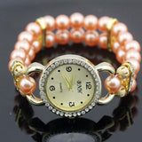 shsby New Women's Rhinestone Quartz Analog Bracelet Wrist Watch lady dress watches with Colorful pearls - Orange