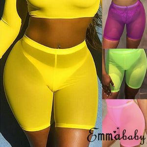 High Waist Women Beach Hot Shorts Beachwear Beach Mesh Cover Up Solid Color Women Swimwear Swimming Bathing Suit Women Outfit