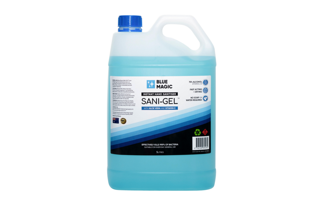 SANI-GEL Hand Sanitiser Gel (5 LITRES) - BLUE MAGIC SUPPLY