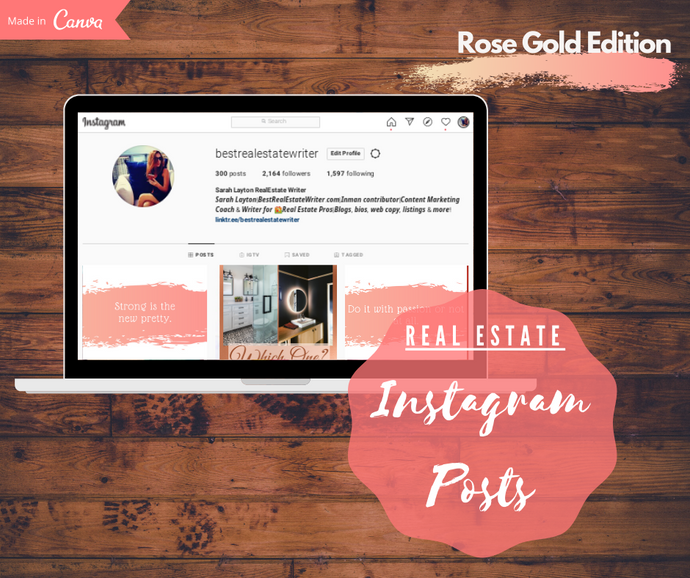 Real Estate Instagram Post Template Bundle | Rose Gold Edition - Best Real Estate Store