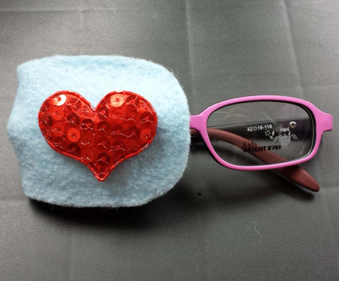 Sequin Heart Eye Patch- Red Sequin
