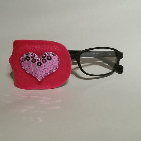 Pink Heart Eye Patch