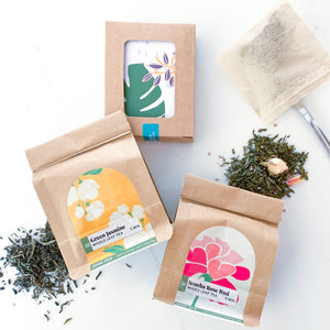 Ohn Market floral green tea box set contained one bag each of our Green Jasmine and Sencha Rose Bud green teas