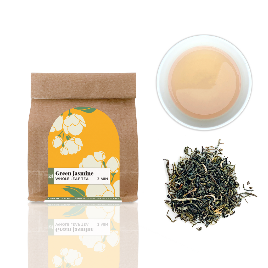 Green Jasmine tea that is a artisanal quality green tea infused multiple times with jasmine blossoms making a delicious jasmine green tea