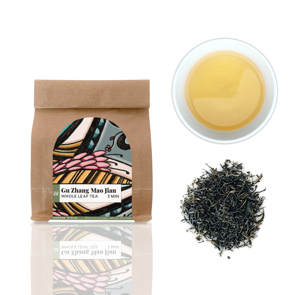 Gu Zhang Mao Jian green tea is a small leaf green tea with a grassy springtime taste
