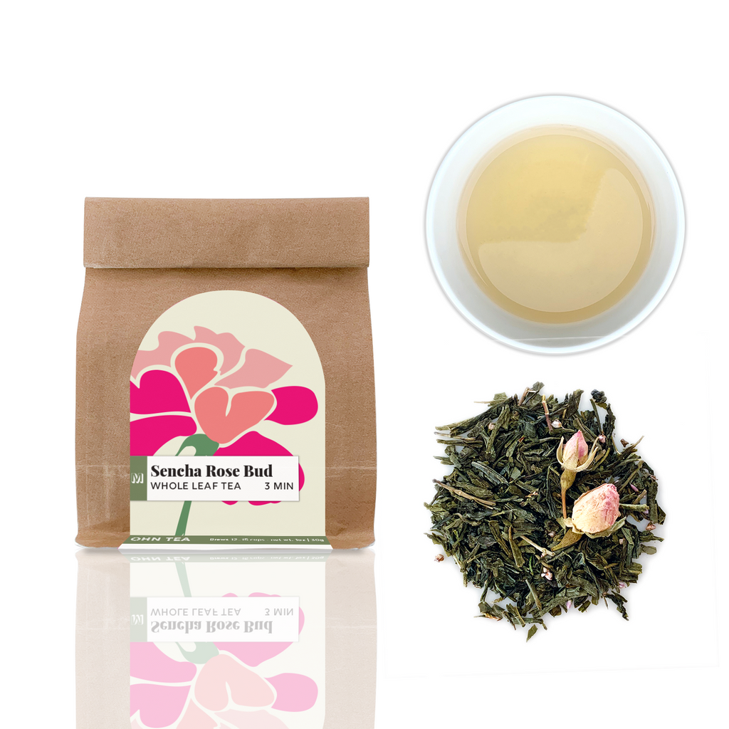 Sencha Rose Bud tea is a cut leaf Sencha tea that is sprinkled with pink rose buds and tiny purple heath flowers