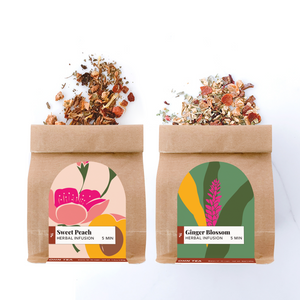 Ohn Market herbal tea box set contained one bag each of our Sweet Peach and Ginger Blossom caffeine-free tea blends