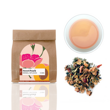 Sweet Peach tea is a fruity caffeine free tea with apple, peach, white hibiscus and marigold flowers.