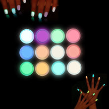 Load image into Gallery viewer, Glow In The Dark Nail Art/Decoration (In Neon Colors; 12 Individual Coloured Powders)