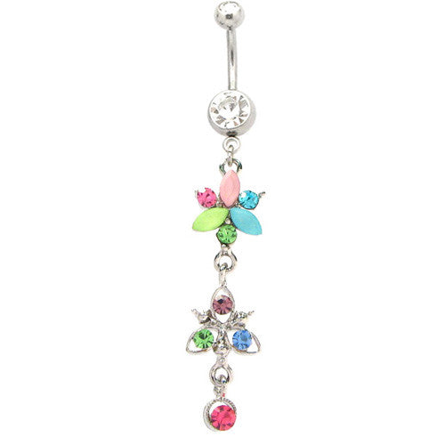 Flower Dangle Navel Ring