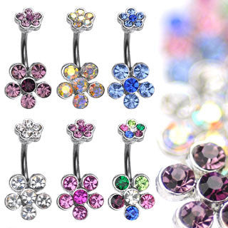 6 Gem Flower Navel Ring - BodyJewelrySource