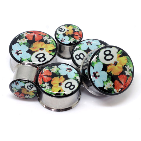 8 Ball Floral Ear Plugs