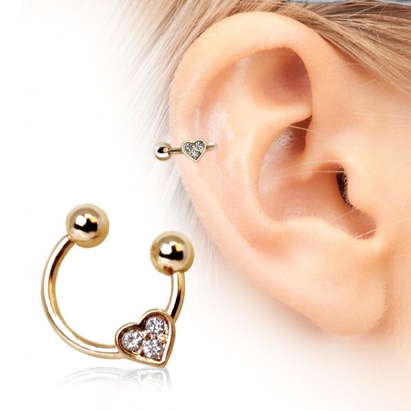 Sale -  Horseshoe Cartilage Earring with Gemmed Heart