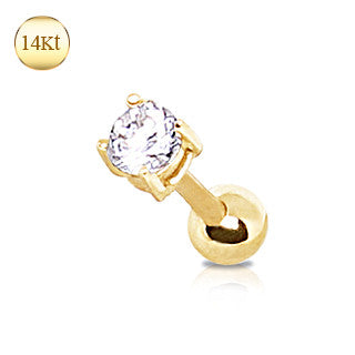 Cartilage 14Kt Yellow Gold CZ Stud Earring