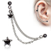 Double Chained Cartilage Earring With Star Gem