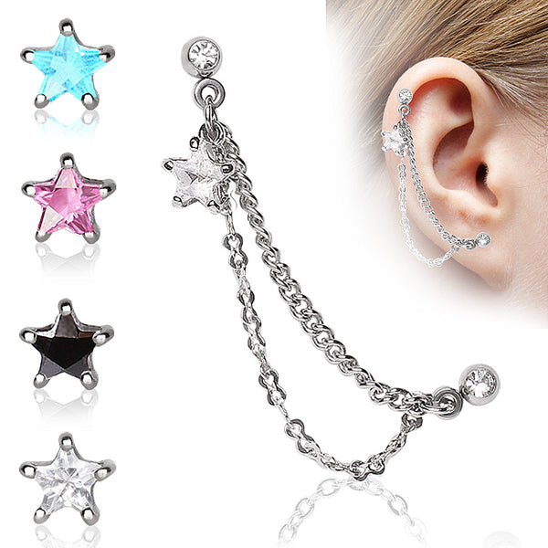 cartilage Sale - Double Chained Cartilage Earring With Star Gem
