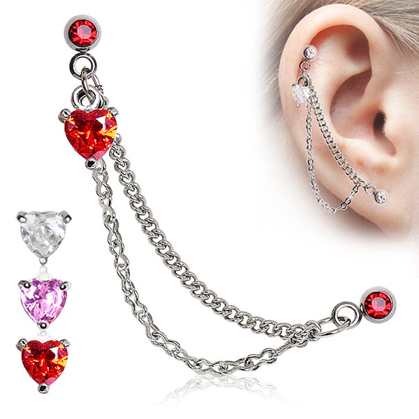 Double Chained Cartilage Earring With Heart Gem