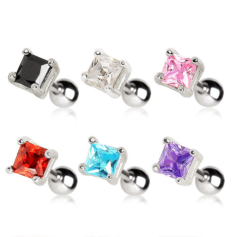 Cartilage Earring With Prong Set Square CZ