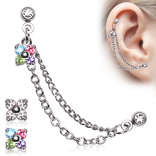 Cartilage Stud Flower With Chained Earring