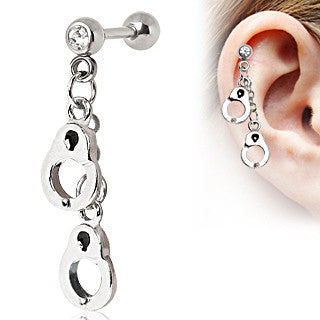 Cartilage Earring With Handcuff Dangle