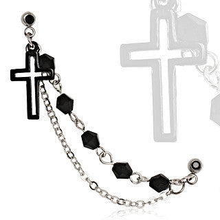 Cartilage Earring With Black Cross And Chain