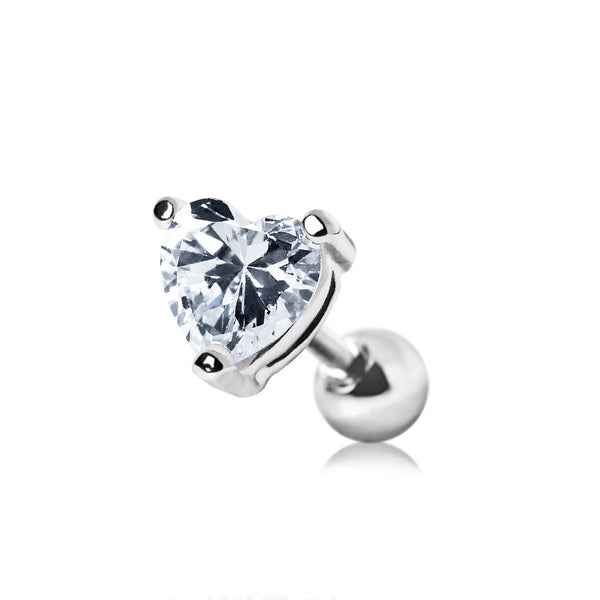 Heart Stud CZ Cartilage Earring