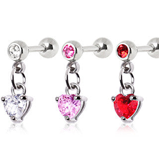 Cartilage Heart Dangle Earring