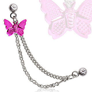 Cartilage Pink Butterfly Dangle and Chain Earring