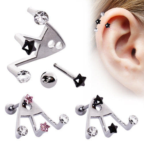 Trident Triple Star Cartilage Earring