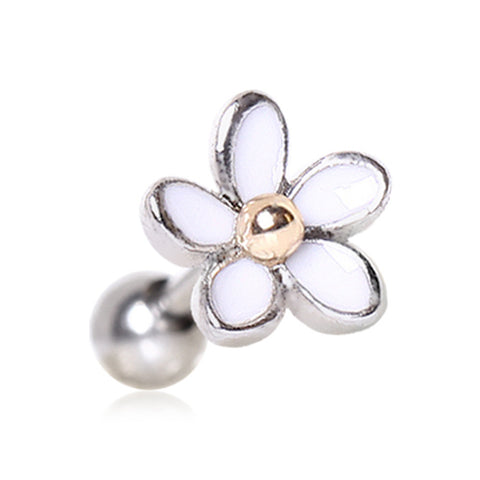 Gold Plated Sweet White Daisy Cartilage Earring