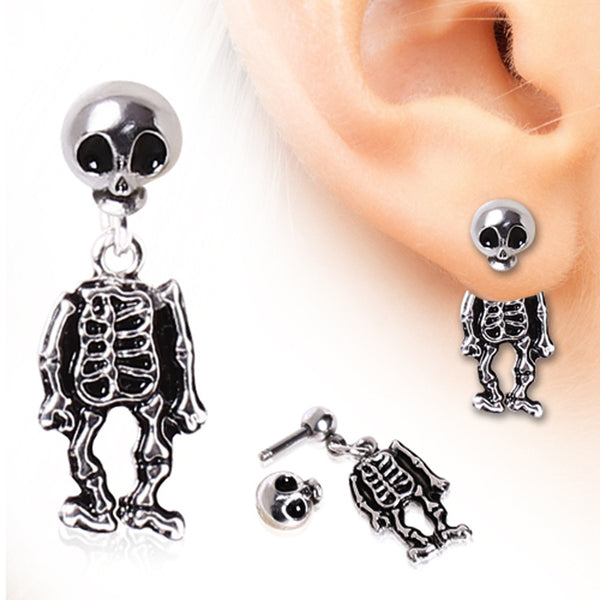 316L Surgical Steel Two-Piece Skeleton Dangle Earring - BodyJewelrySource