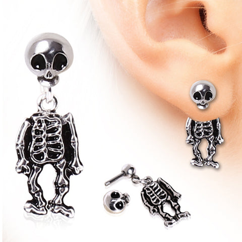 316L Surgical Steel Two-Piece Skeleton Dangle Earring