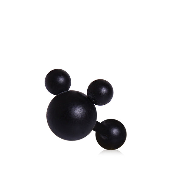 Matte Black Mouse Ears Cartilage Earring
