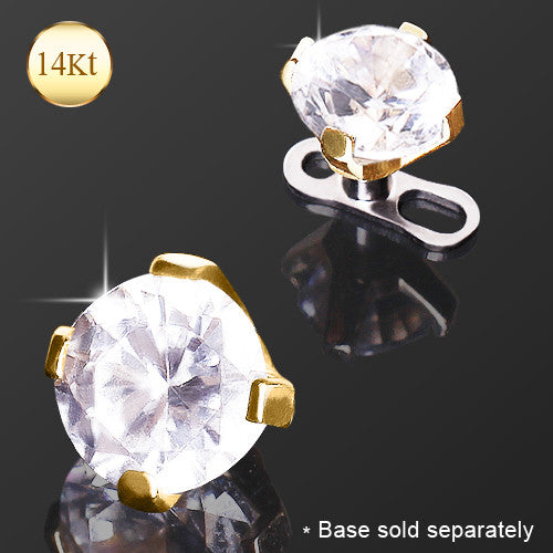 14Kt Yellow Gold Prong Set CZ Dermal Top - BodyJewelrySource