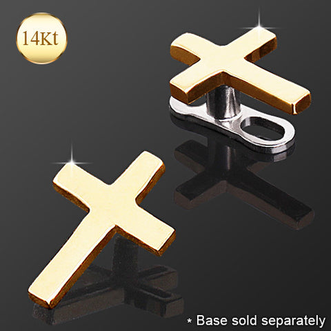 14Kt Yellow Gold Cross Dermal Anchor Top