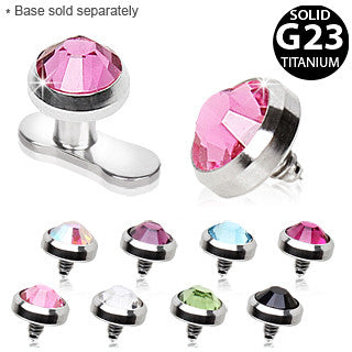 Grade 23 Titanium Dermal Top With Cubic Zirconia