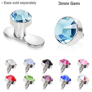 3mm Flat Dermal Top With Gem