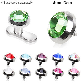 4mm Flat Dermal Top With Gem - BodyJewelrySource