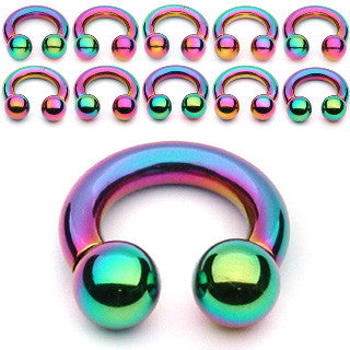 Sale Rainbow Titanium IP Over 316L Surgical Steel Circular Barbell