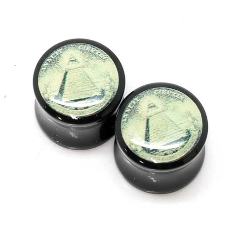 Acrylic Dollar Bill All Seeing Eye Ear Plugs - 14mm
