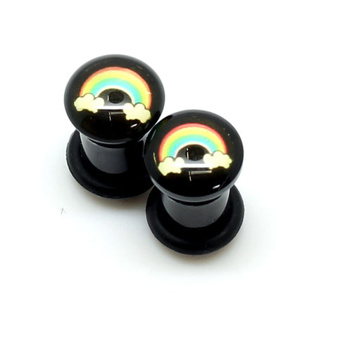 Acrylic Rainbow Clouds Ear Plugs - 2G