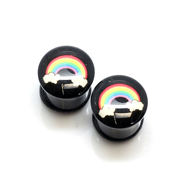 Acrylic Rainbow Clouds Ear Plugs - 11mm - BodyJewelrySource