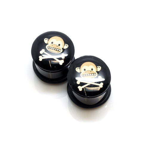 Acrylic Monkey Skull Ear Plugs - 14mm